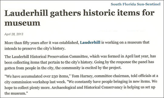 Lauderhill Museum article