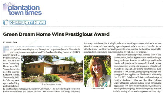 Green Dream Home Wins Prestigious Award