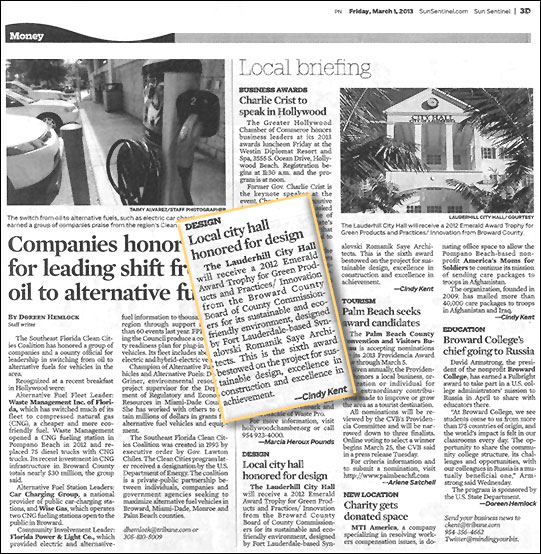Lauderhill City Hall Emerald Award article
