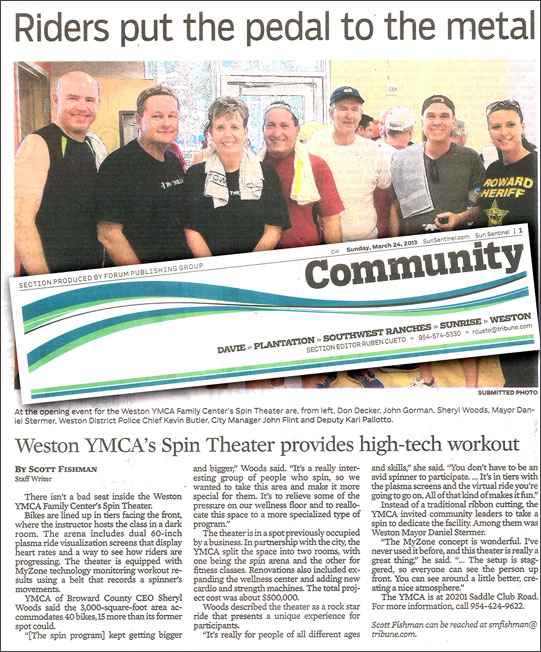 Weston YMCA article in the Sun Sentinel